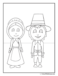 thanksgiving coloring pages pilgrims lady and gent
