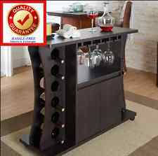 furniture of america henley freestanding bar table with wine rack