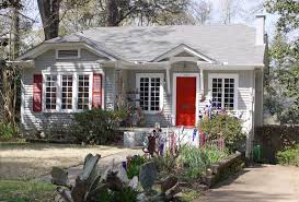blue grey house white trim red door home dream home