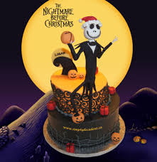 nightmare before birthday cake 2 tier buttercream topsy