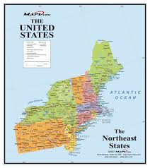 map us northeast northeast usa wall map maps at usa east