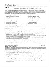 customer service resume sle customer service representative resume objective by obrien free