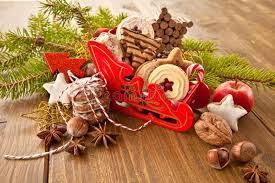 little sledge filled with christmas cookies stock photography