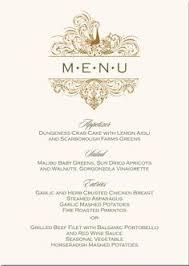 long on elegance menu card an elegant ribbon graces the top of