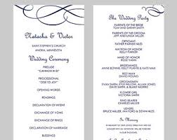 wedding programs template free navy blue program etsy