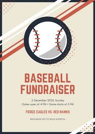 beige illustrated baseball fundraising poster templates by canva