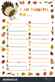 vector illustration thanksgiving abc sheet concept stock vector