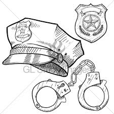 police equipment sketch gl stock images