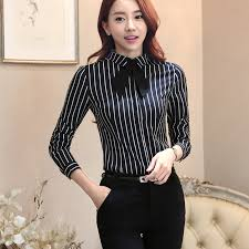 black and white blouse lenshin tie blouses office black and white