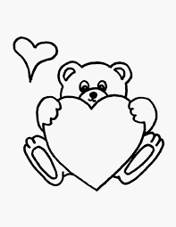 teddy bear with heart coloring pages exprimartdesign com
