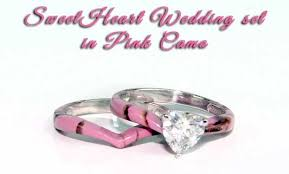 pink camo wedding rings camo sweet heart wedding set