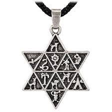 antique necklace pendant images Vintage antique jewish star of david charm 12 tribes of israel jpg