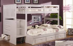 Discovery World Staircase Twin Over Full Bunk Bed In White Top - Full bunk bed