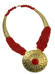 ethnic necklace images Very large statement red gold ethnic style necklace jpg