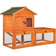 Rabbit Hutch Wood Amazon Com Merax Natural Wood Color Wooden Pet Rabbit Hutch House