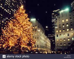 new york city rockefeller center christmas tree lit up at night