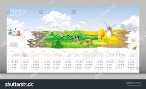 Calendar 2017 All Year Round Four Stock Vector 520068310