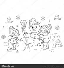 coloring page outline of cartoon boy with making snowman