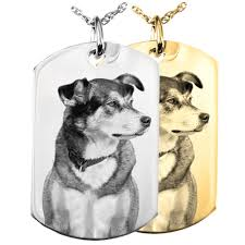 pet memorial necklace photo laser engraved pet memorial jewelry dog tag