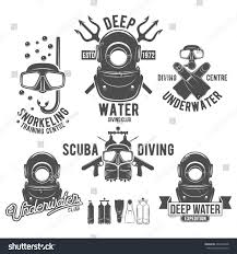 Swimming Logos Free by Scuba Diving Labels Set Underwater Swimming Stock Vector 401846038