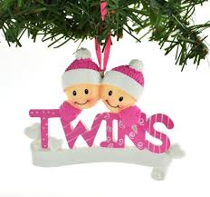 pink two personalized ornaments