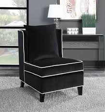 Black Accent Chairs For Living Room Amazing Black Velvet Accent Chair W Contrast Piping In White Of