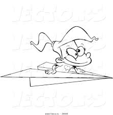 vector of a cartoon flying in a paper plane coloring page