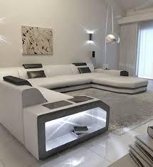 Big Leather Sofa Big Sectional Sofa Prato With Led Lights Leathersofa White