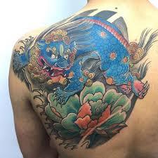 blue foo dogs 75 fantastic foo dog tattoo ideas a creature rich in symbolic