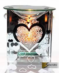 Tea Light Oil Warmer Glass Heart Fragrance Oil Burner Yankee Candle Wax Tart Warmer