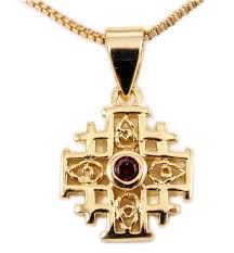 gold jewelry cross necklace images Jerusalem cross pendant gold filled with red garnet 18 quot necklace gif