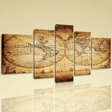 Retro Living Room Art Extra Large Vintage Map Other Retro Canvas Print Decorative Wall
