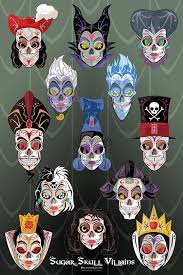 artist honors disney villains through sugar skull designs