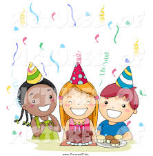 singing happy birthday vector clipart of a of three happy kids singing happy
