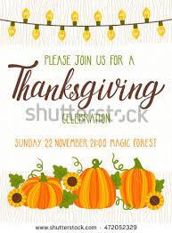 Thanksgiving Invitations Templates Free Vector Thanksgiving Invitation Template Invite Harvest Stock