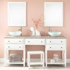 White Bathroom Vanity With Vessel Sink Amazing 72 Glympton Vessel Sink Double Vanity With Makeup Area White Intended For Double Sink Vanity With Makeup Area Jpg