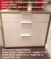 find more ikea nyvoll 3 drawer chest light gray white for sale