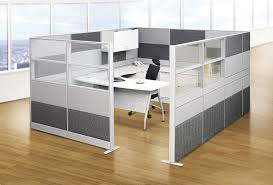 Grey Wood Laminate Flooring U Shaped Grey Wooden Desk With Black Chair Also Grey Partition On