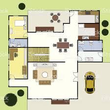 floorplan ground floor plan house home architecture stock vector