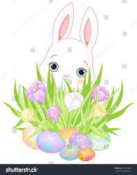 pretty easter bunny flowers eggs stock vector 394310029 shutterstock