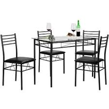 Black Glass Dining Room Sets Vecelo Dining Table Set Glass Table And 4 Chairs Metal Kitchen