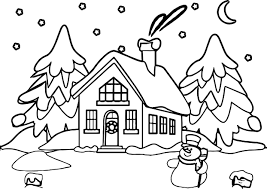 snowman house coloring page wecoloringpage