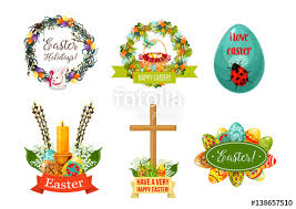 easter symbol set easter egg with ornament rabbit