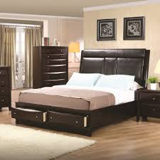 black stained oak wood master bed frame with black leather high