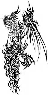 great black color ink tribal demon tattoo design for girls picsmine