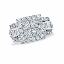 engagement rings with baguettes 2 ct t w princess cut and baguette engagement ring