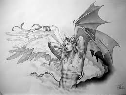 sexual muscular male demon with horns and bat wings tattoo design