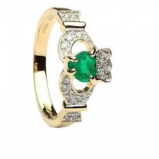 emerald engagements rings images Claddagh engagement ring with emerald diamonds celtic rings ltd jpg