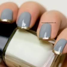 Gray And Gold Nail Art U2013 Funky French My Nail Polish Online