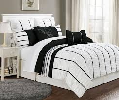 Bedroom Decorating Ideas With White Comforter Good Looking Black And White Comforter On Wooden Bed Frame Which